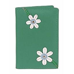 Mala Leather Blossom ID Card Holder Green