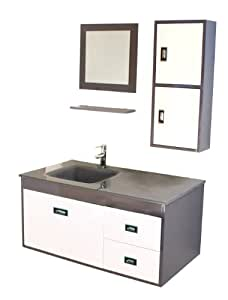 Luxo Marbre California Grey Kit California Vanity With Tempered Glass Sink Mirror And Side