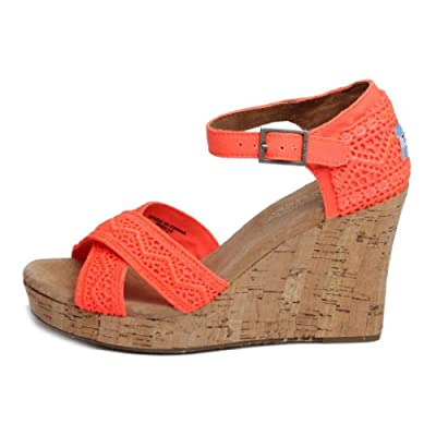 Amazon.com: Toms Womens Strappy Wedge Coral Crochet 10000782