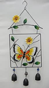 "14"" Suncatcher Glass Butterfly Wind Chime"
