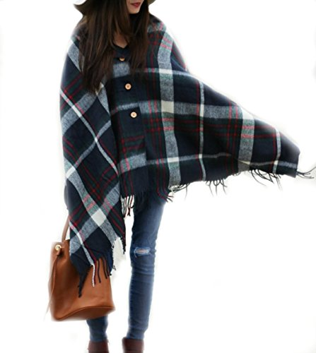 Pretty Simple Plaid Button Blanket Scarf Shawl Women's Wrap (Navy Blue)