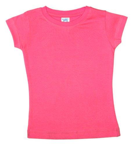 Rabbit Skins Toddler Fine Crewneck Jersey T-Shirt, Hot Pink, 5/6T front-558131