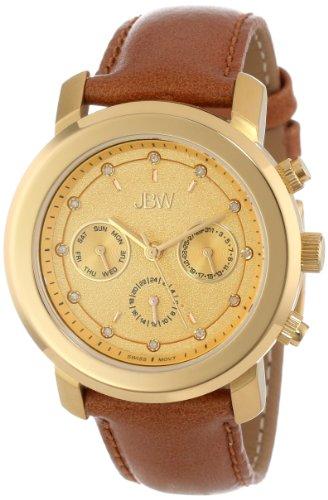 Las mujeres JBW J6276A en negrilla de la multi-función de reloj de la venda del diamante de piel marrón