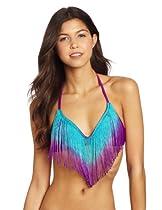 Bikini Lab Juniors Fringe Bralette Top, Purple, Medium