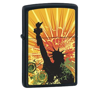 Zippo Lighters- Statue of Liberty - Black Matte the statue of liberty disappear magic props white black