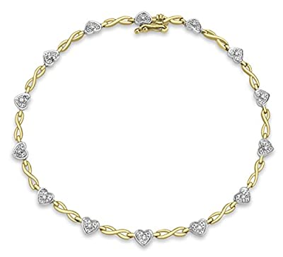 Carissima 9ct 2 Colour Gold 0.10ct Diamond Heart Twist Bracelet 19cm/7.5""