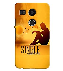 Blue Throat Man Sitting Single Alone For Ever Printed Designer Back Cover/Case For LG Google Nexus 5x