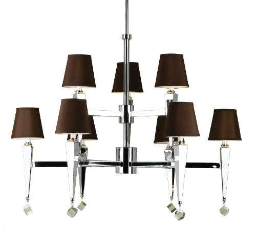 Candice Olson Margo 9 x 60-Watt Light Candle Base Chandelier, Chrome with Crystal Accents and Chocolate Poly/Silk Shades
