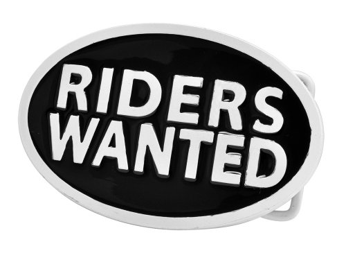 RIDERS WANTED White Belt Buckle Biker Motorcycle Unique Metal New Hip Cool
