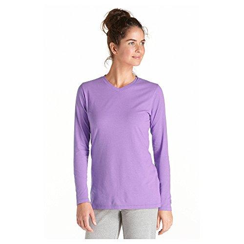 Coolibar UPF 50+ Women's ZnO V-Neck T-shirt – Sun Protection (Large – Soft Lilac)