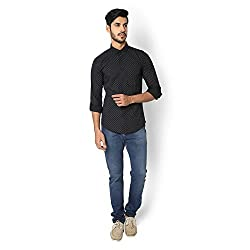 STRAK Mens' Pure Cotton Black & White Dotted Designer Boat Curve Style Shirt With Full Sleeve Size:-XL/44