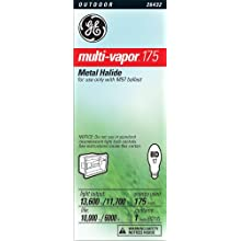 GE Lighting 26432 175-Watt Multi-Vapor175 HID Metal Halide Medium Base Light Bulb, 1-Pack