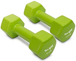 Yes4All PVC Dumbbells-Sold In Pair, 11 lb, Green