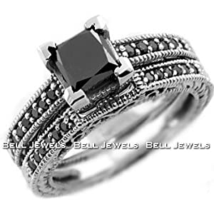 Princess Cut Black Diamond Engagement Ring Set in 14K White Gold