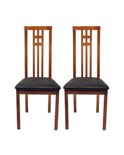 Aeon Set of 2 Euro Home Collection District-2 Dining Chairs, Cherry