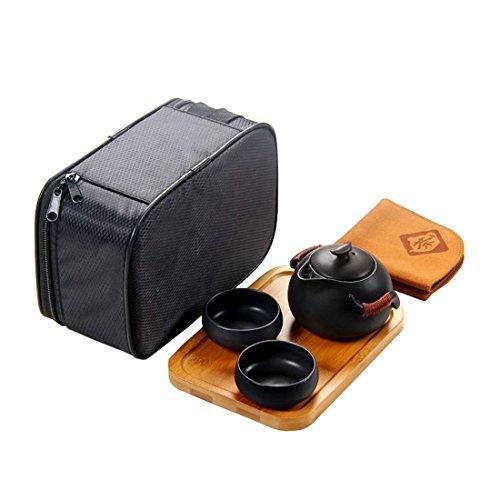 Tea Talent Chinese & Japanese Portable Travel Kungfu Tea Set - Porcelain Teapot & Teacups & Bamboo Tea Tray & Tea Towel with Handbag, Black (Diffuser Teapot compare prices)