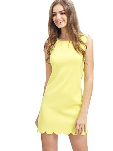 SheIn Women's Scalloped Trim Sleeveless Dress X-Small Yellow