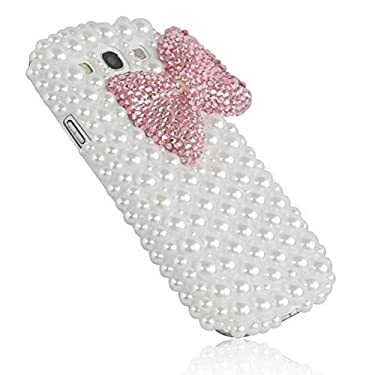 3D Pink Bowknot Bow Decorate full Pearls Case Hard White for Samsung Galaxy S3 III I9300