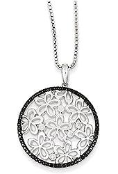 Sterling Silver Black & White Diamond Pendant Necklace