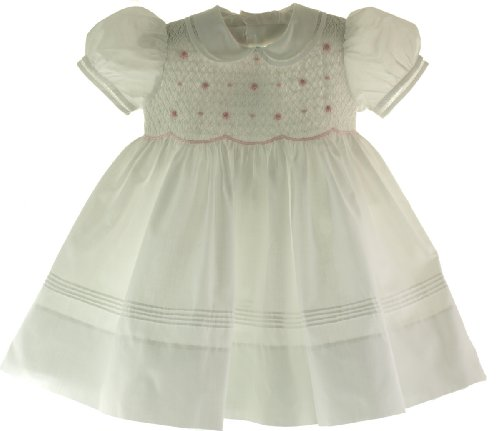 Feltman Brother Girl White & Pink Smocked Portrait Dress 18M front-928317