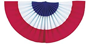 Impact Innovations Patriotic Flocked Fan Drape Bunting, Red/White/Blue Stripes, 3-Count
