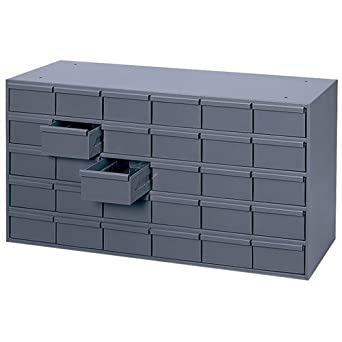 "Durham 014-95 Gray Cold Rolled Steel Storage Cabinet, 33-3/4"" Width x 17-3/4"" Height x 11-5/8"" Depth, 30 Drawer"