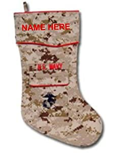 Camosock-Personalized custom embroidered US Navy Corpsman digicam military christmas stocking