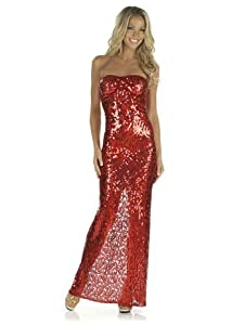 Sexy Red Tube Style Sequin Gown - Small
