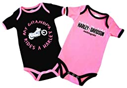 Harley-Davidson Baby Girls\' Grandpa Rides A Harley Creeper 2-Pack 1103054 (18M)
