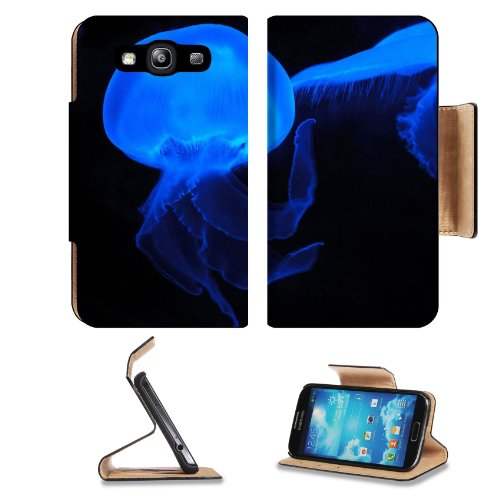 Moon Jellyfish Deep Sea Creature Neon Blue Transparent Samsung Galaxy S3 I9300 Flip Cover Case With Card Holder Customized Made To Order Support Ready Premium Deluxe Pu Leather 5 Inch (132Mm) X 2 11/16 Inch (68Mm) X 9/16 Inch (14Mm) Msd S Iii S 3 Professi