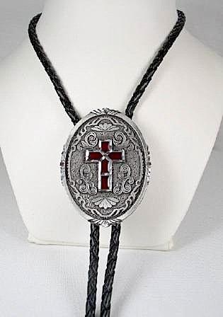 Diamondcut Red Enamel Cross  Religious Bolo Tie