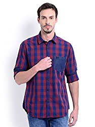 Sting Maroon Check Slim Fit Full Sleeve Cotton Casual Shirt For Men
