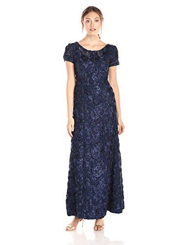 Alex Evenings Women's A-Line Rosette Sleeve Gown