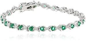 "Sterling Silver, Created Gemstone, and Diamond Bracelet (0.02 cttw, H-I Color, I2-I3 Clarity), 7"" from Amazon Curated Collection"