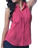 Sexy Two Pockets Sleeveless Sheer Chiffon Blouse Shirt Top