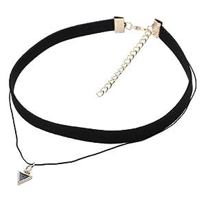 YAZILIND Frauen Korean Vintage-Samtband String Nº5 Paris Vergoldet Gliederkette Lätzchen PU Leder Kragen-Halsketten