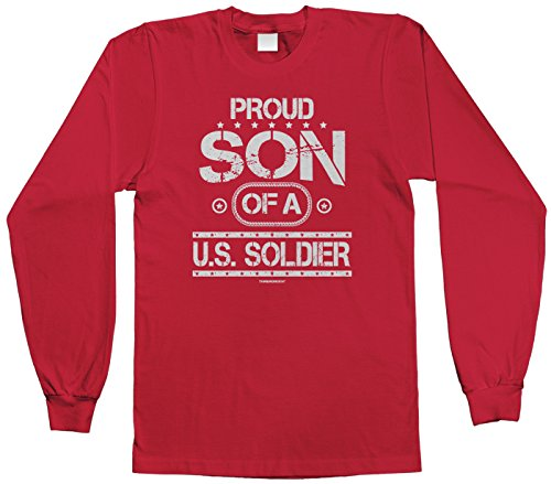 Threadrock Big Boys' Proud Son Of A U.S. Soldier Youth Long Sleeve T-Shirt M Red front-1033841