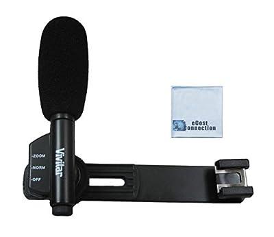 Vivitar Professional Directional Condenser Shotgun Microphone with Bracket for DSLR Cameras and Camcorders + eCost Microfiber Cloth For Sony HDR-PJ10, HDR-PJ30E, HDR-PJ50V, HDR-PJ430V & More