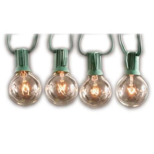 Globe Bulb String Lights Indoor : Clear Globe String Lights Set of 25 G40 Bulbs Indoor / Outdoor Outdoor Furniture