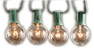 Sival Clear Globe String Lights Set of 25 G40 Bulbs, Perfect for Patio, Gardens, Gazebos, Weddings, Indoor / Outdoor, Christmas lights