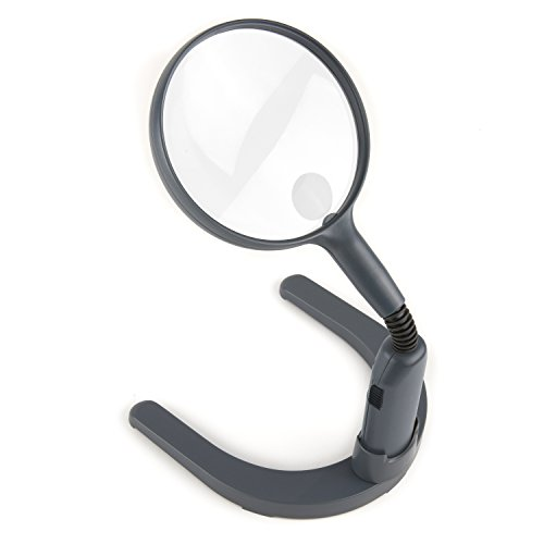 Carson MagniLamp LED Lighted 2x Hand Held or Hands Free Hobby Magnifier with Flexible Gooseneck to use for Reading, Crafts, Soldering, Model Building, Jewelry, Inspection of Coins, Stamps and other Tasks and Hobbies For a Work Bench or Desk Top (GN-55)