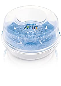 Philips Avent SCF281/02 - Esterilizador a vapor de microondas ideal para viajes, esteriliza los biberones en tan solo 2 minutos, elimina un 99,9% de gérmenes dañinos