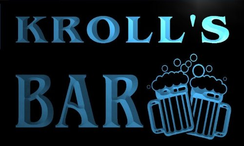 w003098-b KROLL'S Name Home Bar Pub Beer Mugs Cheers Neon Light Sign