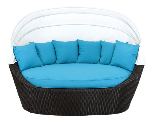 Black Resin Wicker Outdoor Patio Cabana Daybed