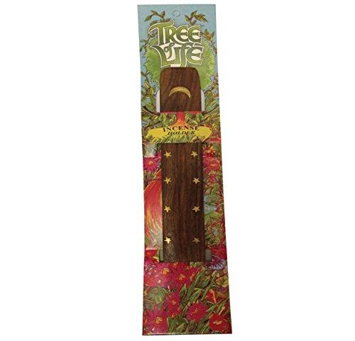 La luna y las estrellas de madera de fresno de recipientes para incienso Joss porta Hippie Boho Festival