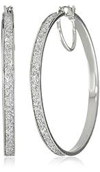 """Jessica Simpson """"Glitter Items"""" Silver Glitter Hoop Earrings"""