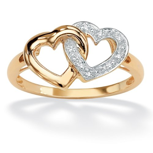 PalmBeach Jewelry 18K Gold Over Sterling Silver Diamond Accent Interlocking Heart Ring