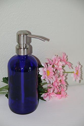 Half Pint Cobalt Blue Jar Soap Dispenser With Stainless Pump Blue 8oz Glass Jar Lotion