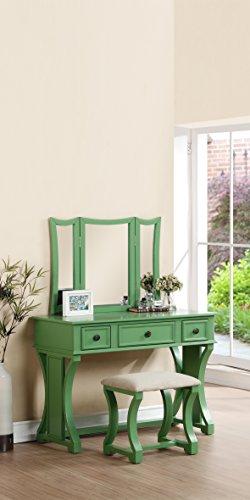 Poundex Bobkona Edna Vanity Set With Stool Apple Green