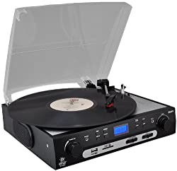 PYLE PLTTB9U USB Turntable with direct-to-digital USB/SD Card Encoder and Built-in AM/FM Radio Conversion by Pyle